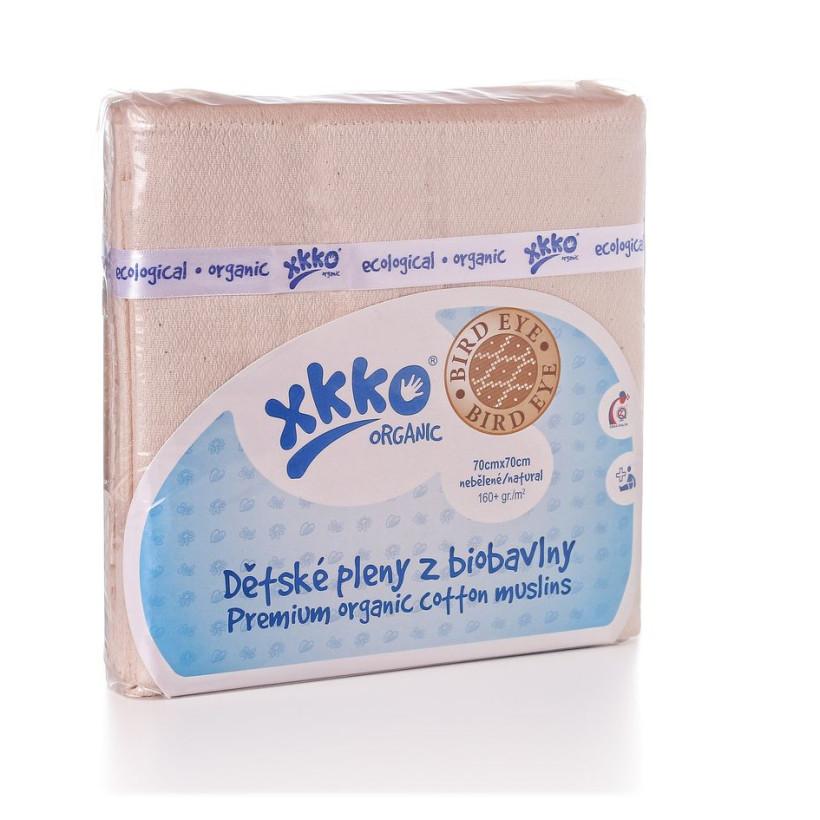 Organic Cotton Diapers XKKO Organic 70x70 Bird Eye - Natural