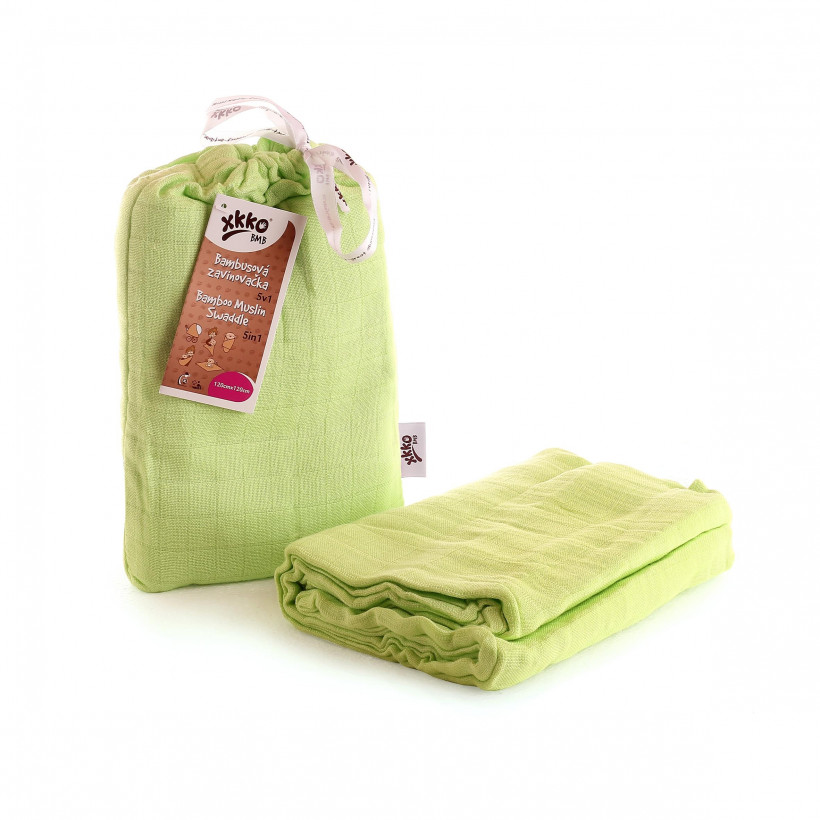 Bamboo swaddle XKKO BMB 120x120 - Lime 5x1ps (Wholesale packaging)