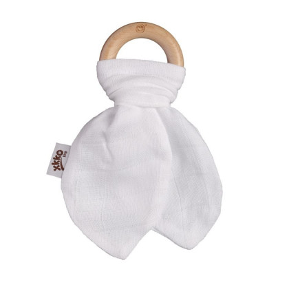 XKKO BMB Bamboo teether with Leaves - White