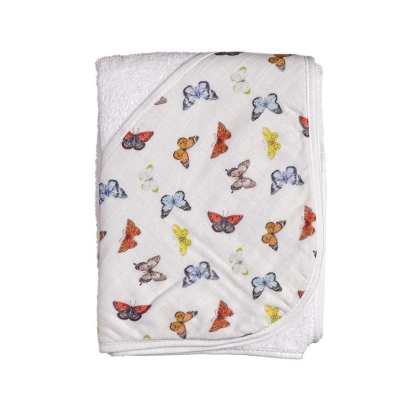 Hooded bamboo terry towel XKKO BMB 90x90 - Butterflies