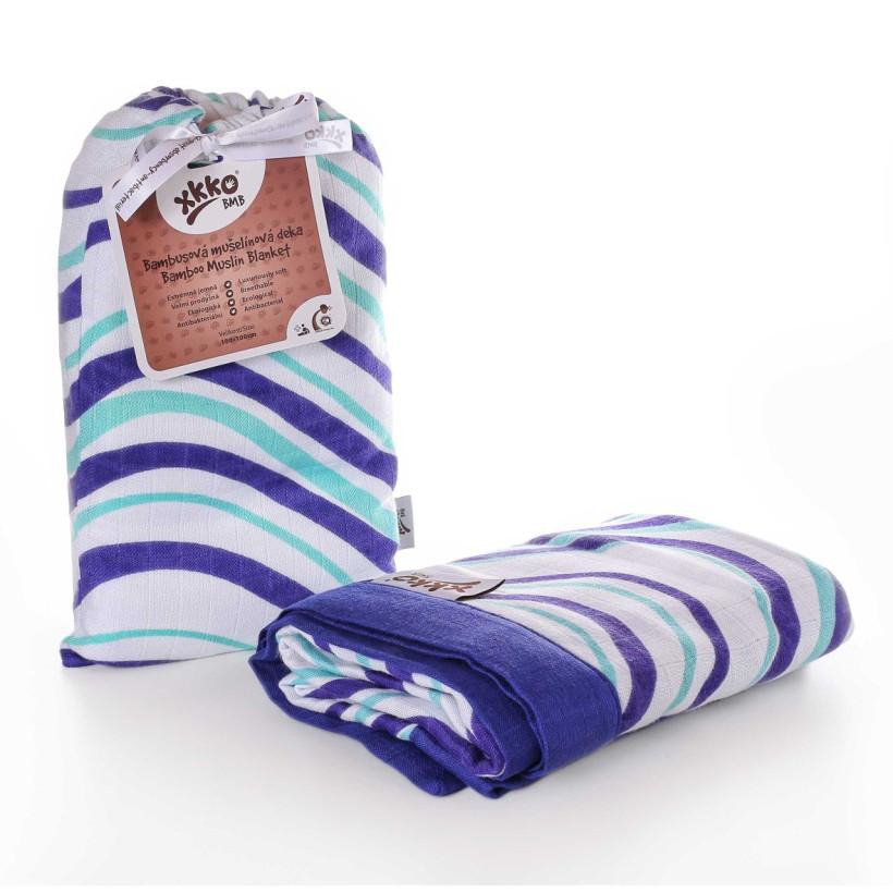 Bamboo muslin blanket XKKO BMB 100x100 - Ocean Blue Waves