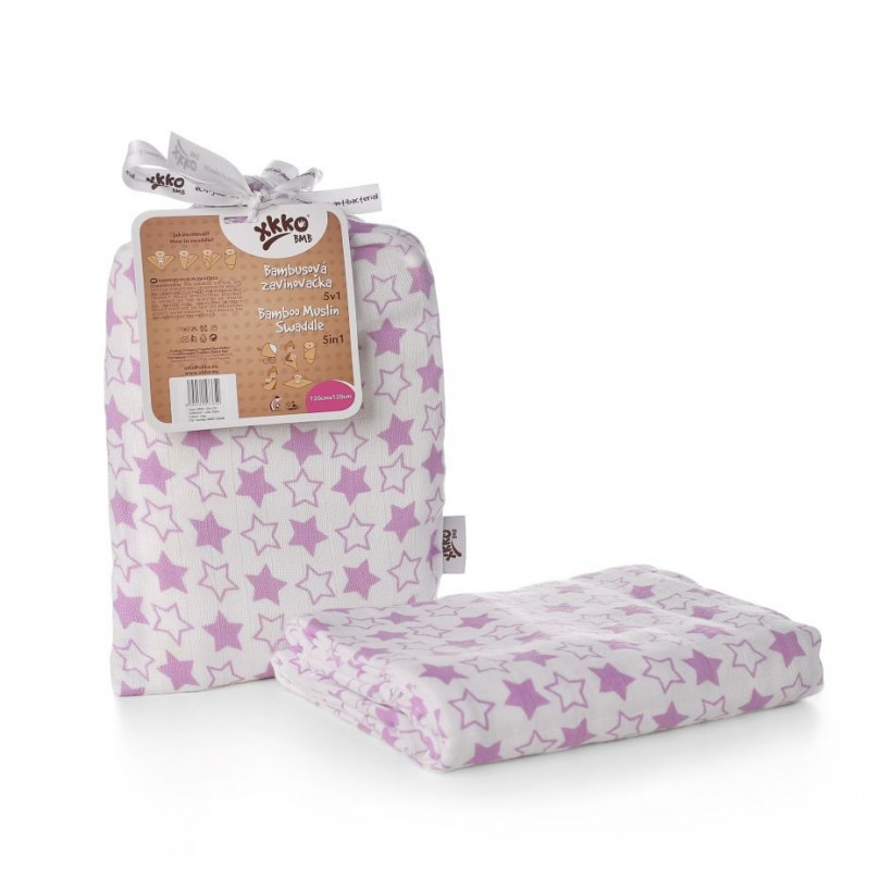 Bamboo swaddle XKKO BMB 120x120 - Little Stars Lilac 5x1ps (Wholesale packaging)