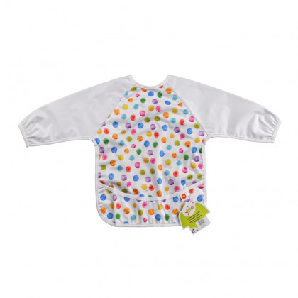 XKKO long-sleeve bib - Watercolour Polka Dots