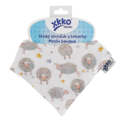 Organic Cotton Muslin Bandana XKKO Organic - Dreamy Sheeps